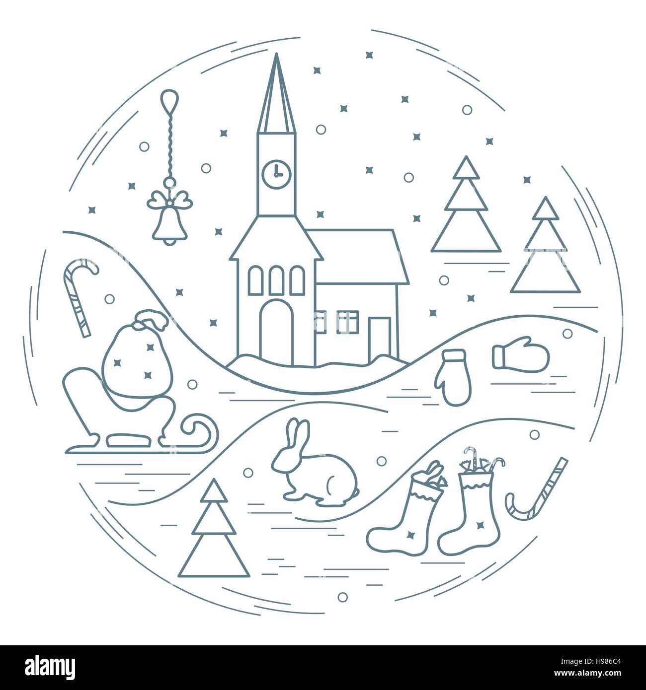 Vector illustration of different new year and christmas symbols arranged in a circle. Winter elements made in line - Stock Image