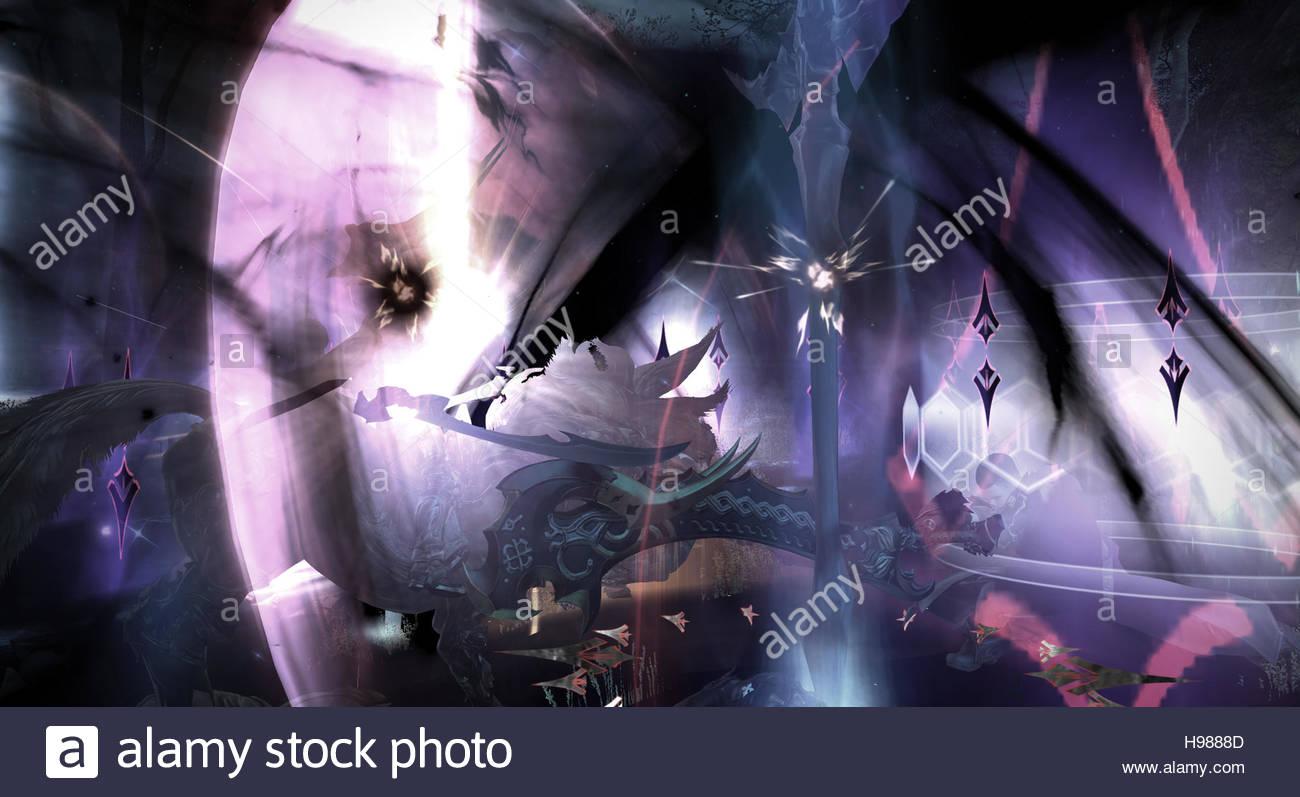 A Final Fantasy A Realm Reborn Screenshot on PS4 - Stock Image