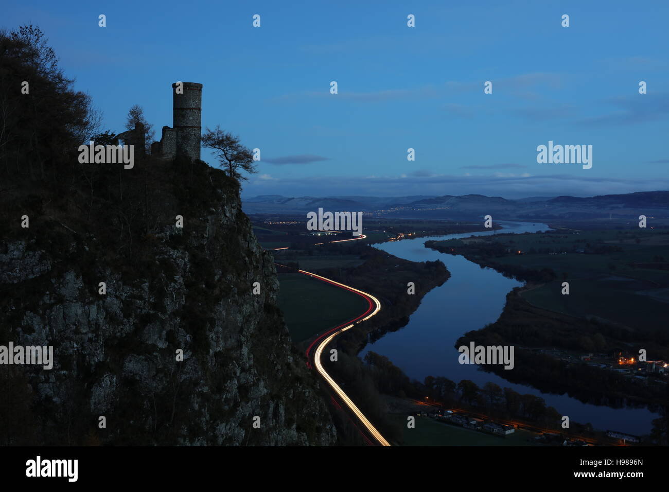 Night shot, Perth, Scotland, looking towards the River Tay, Glencarse and Dundee from Kinnoull Hil - Stock Image