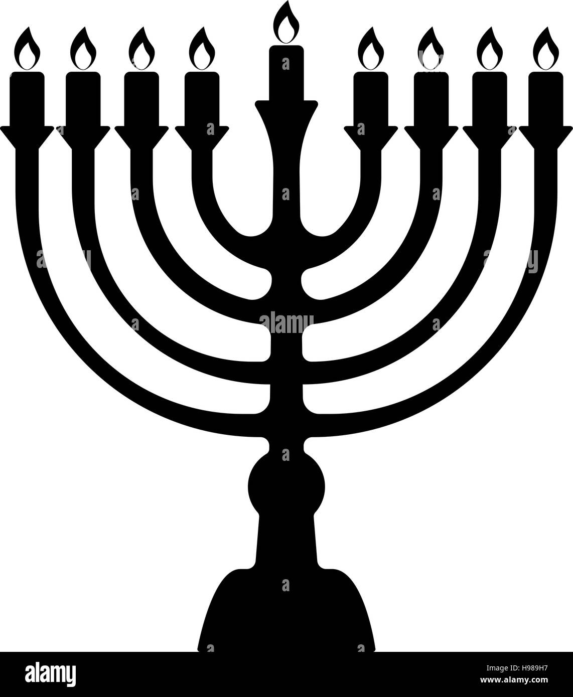 Menorah for Hanukkah, Vector illustration. Religion icon. Silhouette Flat style - Stock Vector