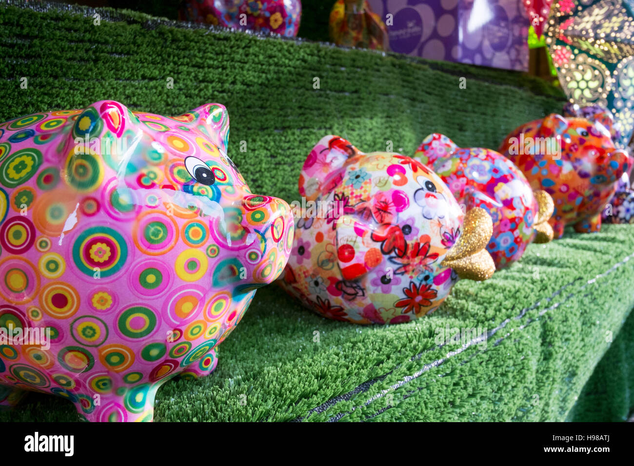 Banks For Sale >> Hand Painted Piggy Banks For Sale On A Christmas Market