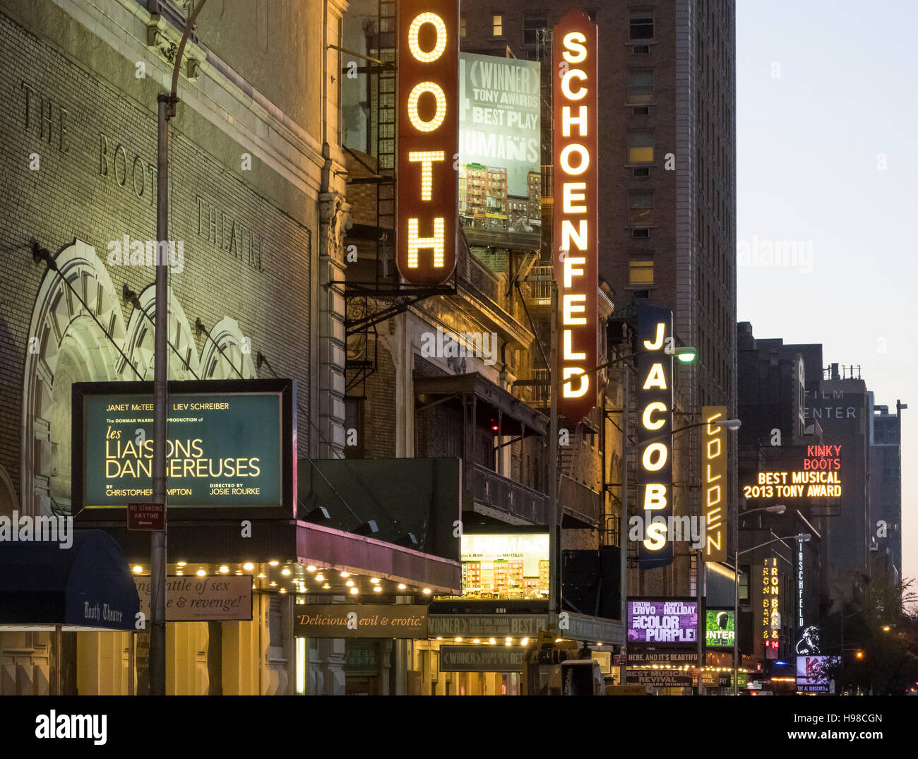 A line of Broadway theaters on West 45th Street in New York City - Stock Image