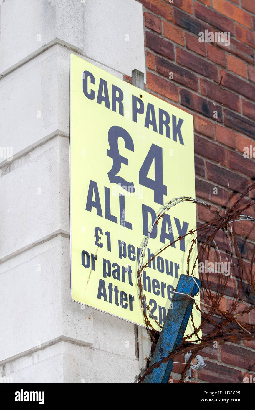Car Park signs with prices in Liverpool, Merseyside, UK. - Stock Image
