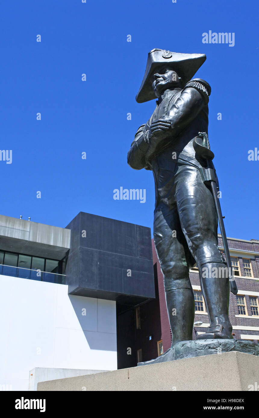 Captain Bligh Statue at the rocks in Sydney Australia.Best remembered for the historic mutiny which occurred during - Stock Image