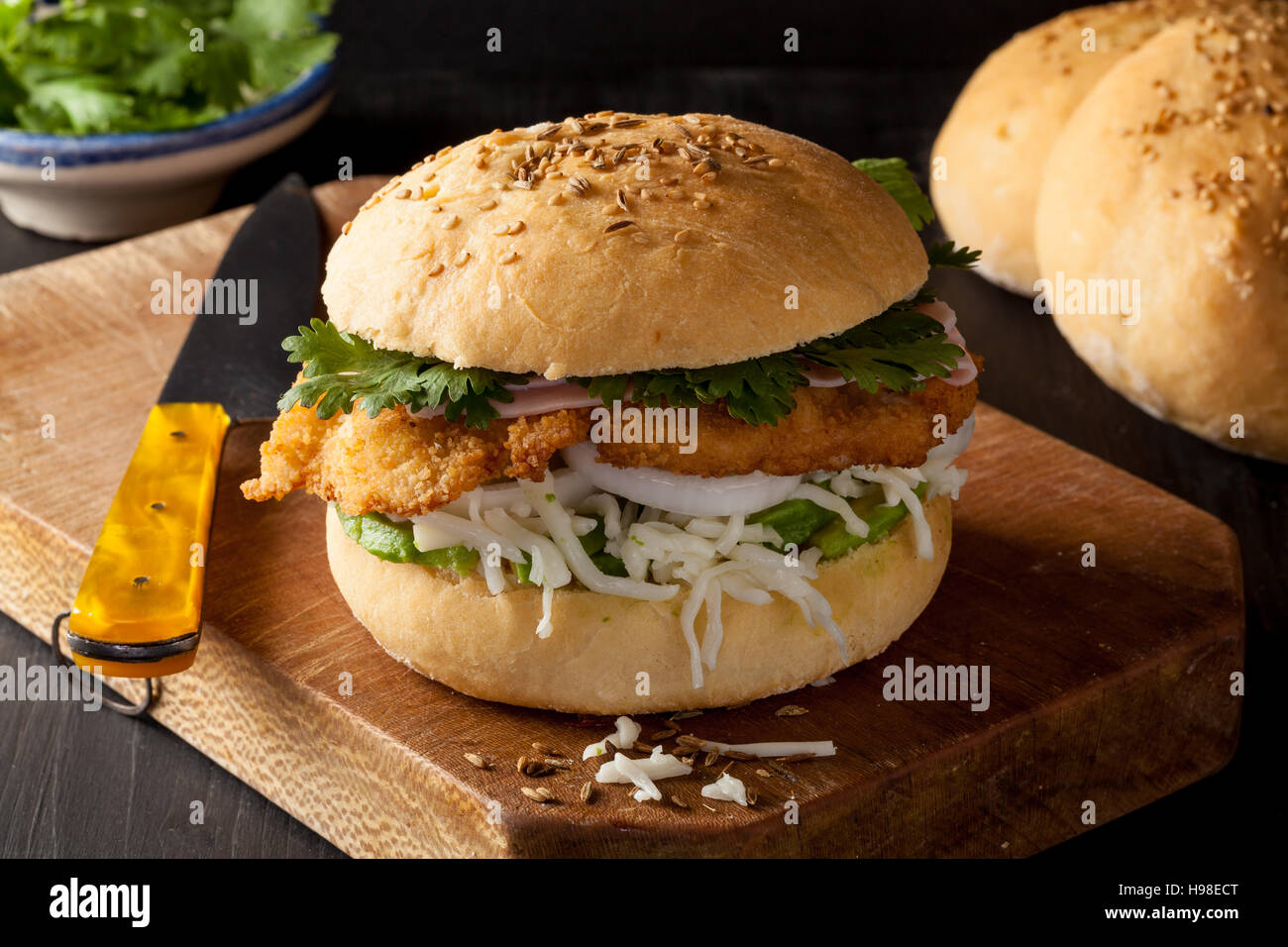 The cemita poblana is a typical sandwich from Mexico sold as street food. - Stock Image