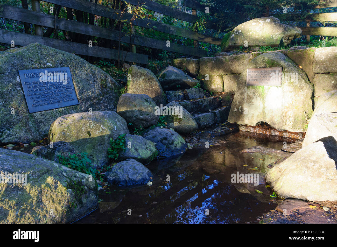 Furtwangen im Schwarzwald: Source of stream Breg, a source of the Danube, Schwarzwald, Black Forest, Baden-Württemberg, - Stock Image