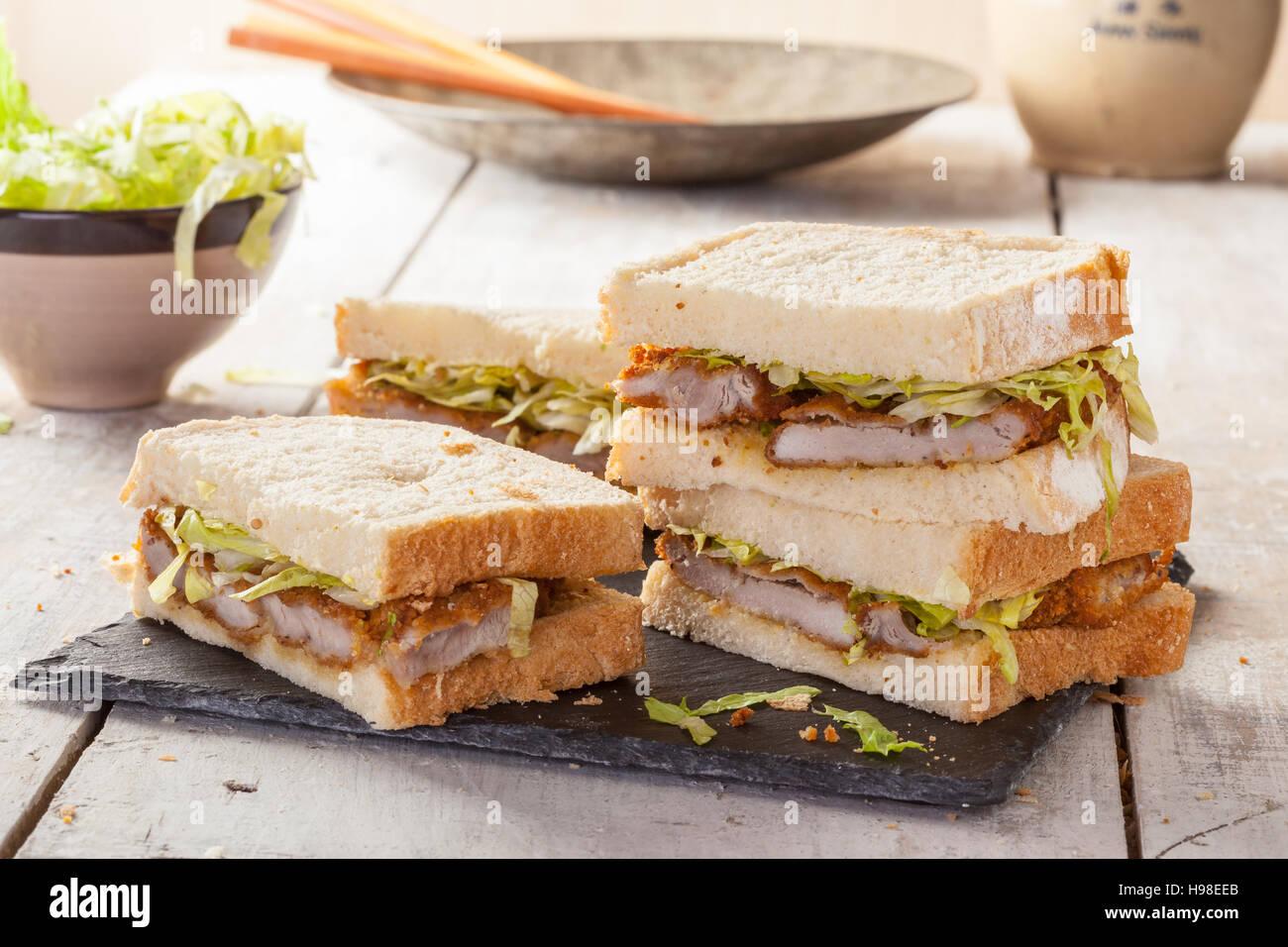 Katsu Sando, a popular Japanese sandwich with pok cutlet. - Stock Image