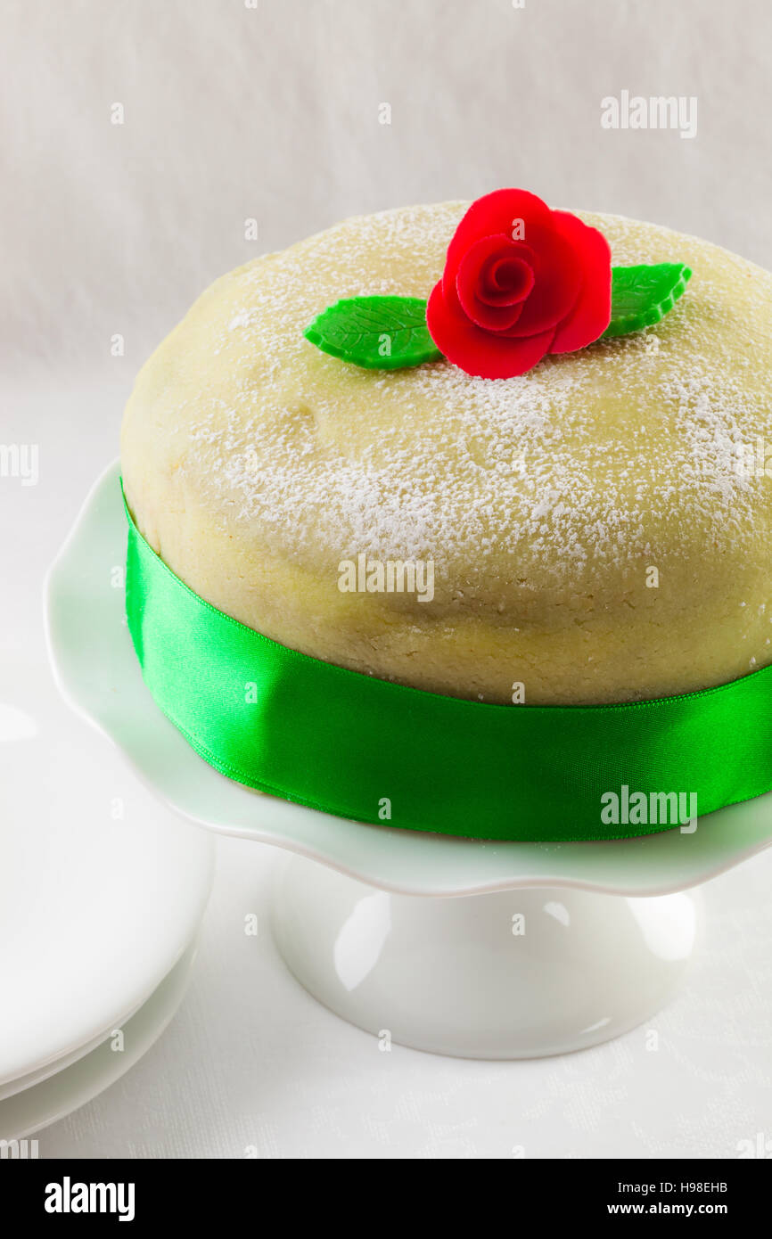 Swedish princess cake, marzipan birthday cake. Stock Photo
