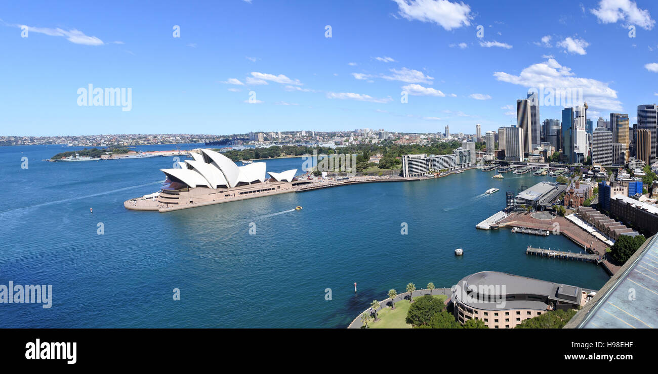 Panoramic urban aerial landscape view of Sydney Circular Quay, Sydney Cove and the Opera House in Sydney New South - Stock Image