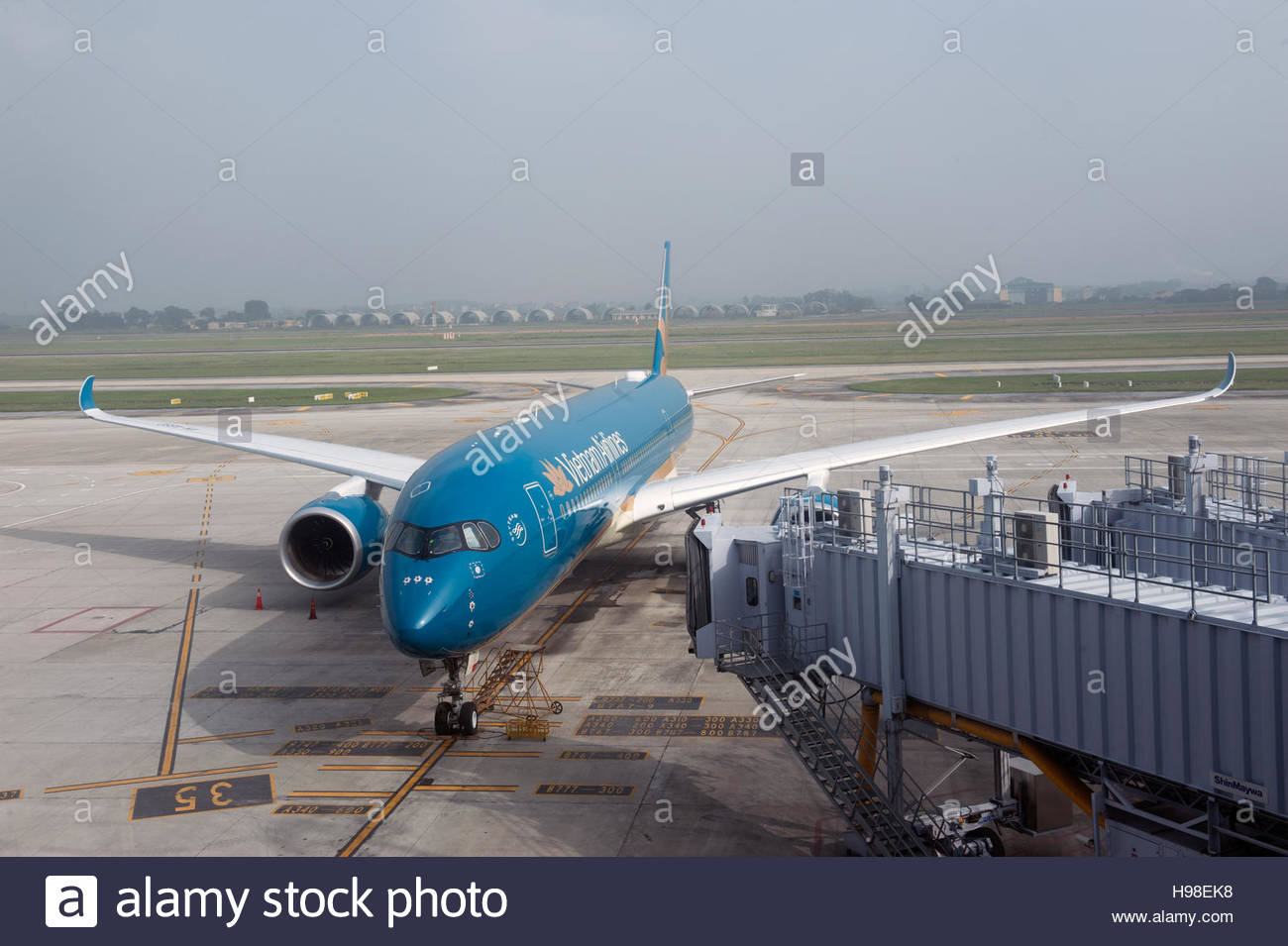 Ha Noi Vietnam. Vietnam Airlines Airbus A350 Aircraft on the apron at Nội Bài International Airport - Stock Image