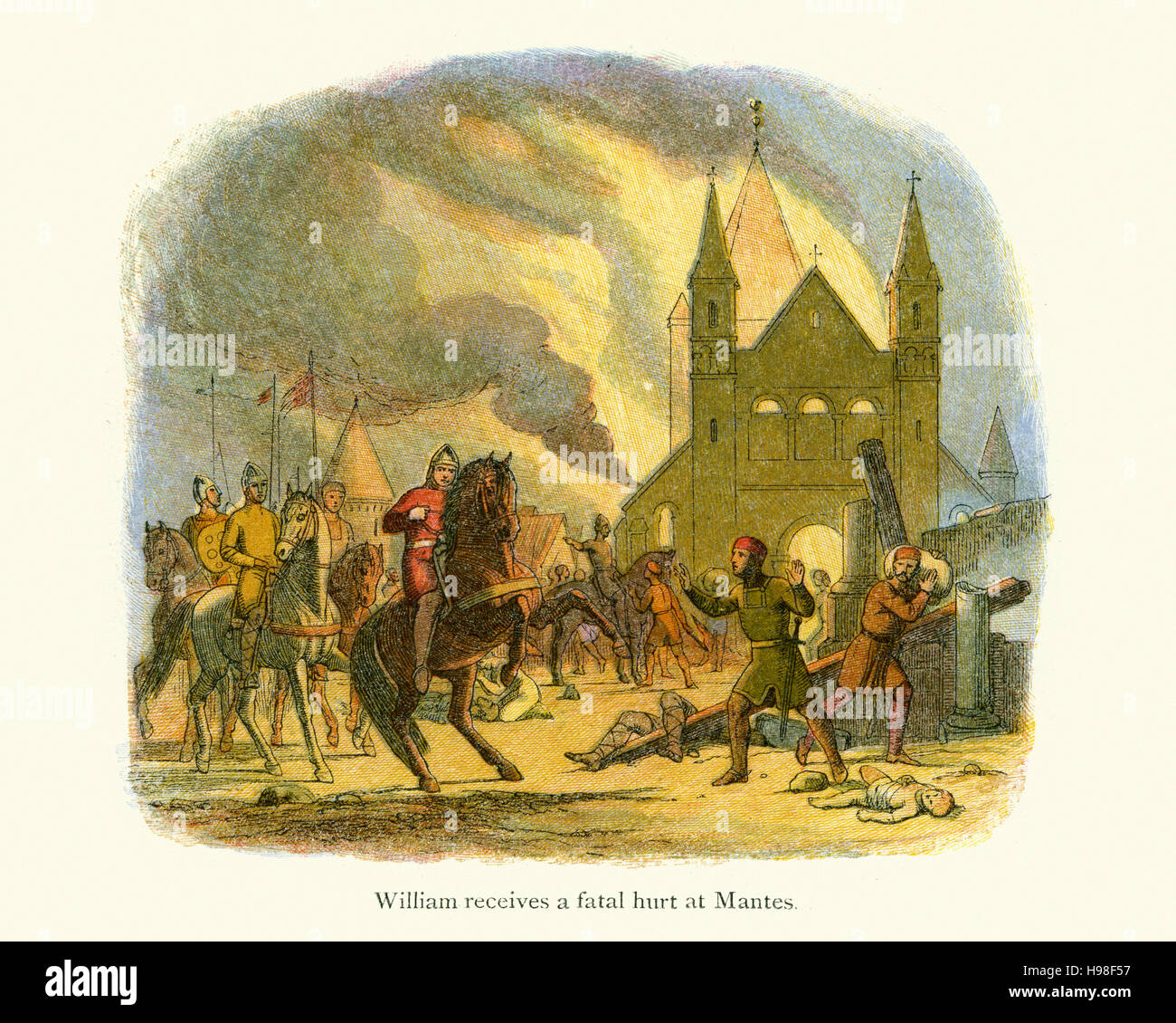 King William the Conqueror receiving a fatal wound at Mantes. In 1087 in France, William burned Mantes 50 km west Stock Photo