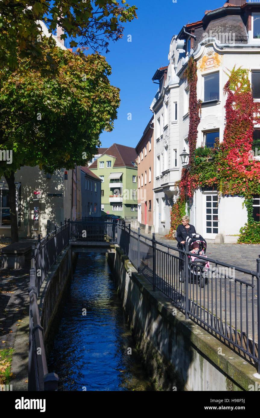 Augsburg: quartier Lechviertel, canal, Schwaben, Swabia, Bayern, Bavaria, Germany - Stock Image
