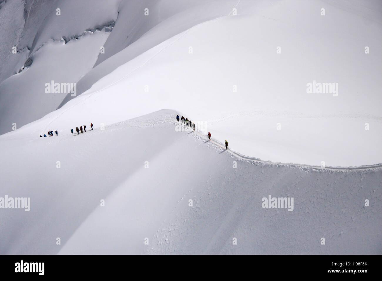 Bergsteiger, Mont Blanc-Massiv, Chamonix, Frankreich. Stock Photo