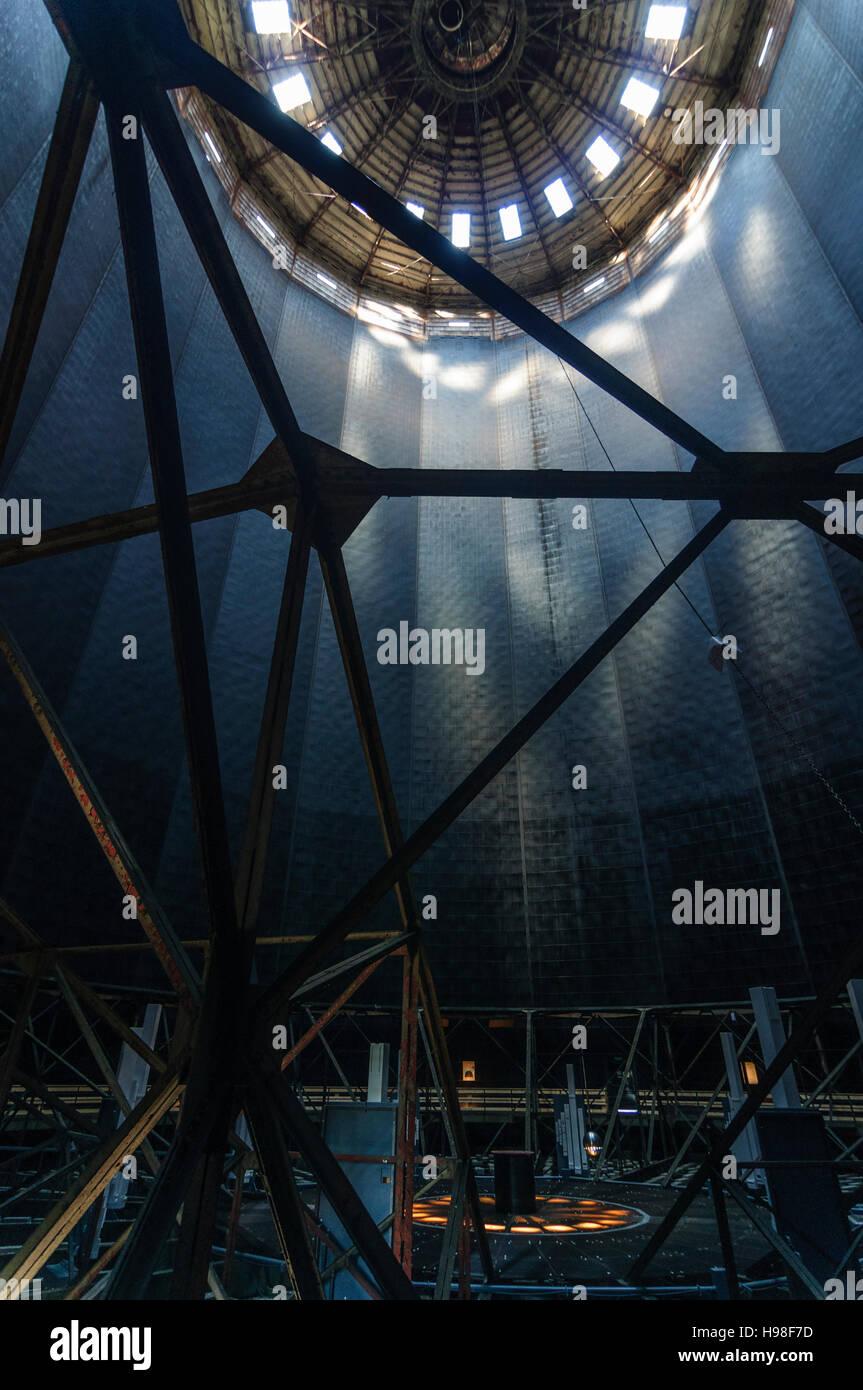 Augsburg: former gas tank in Augsburg-Oberhausen, art installation of a Foucault pendulum, Schwaben, Swabia, Bayern, - Stock Image