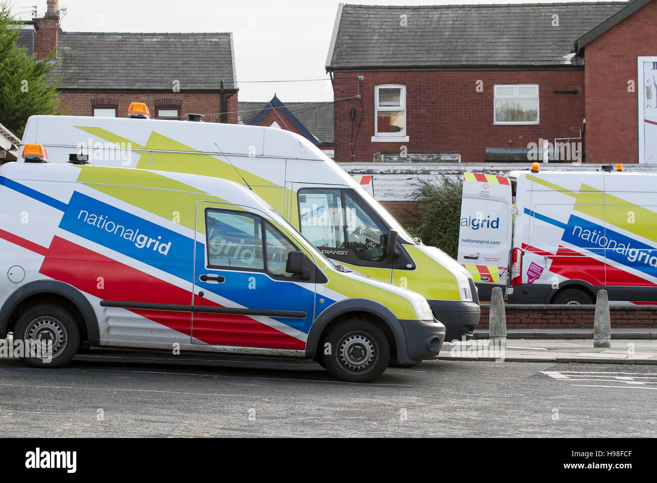 National Grid vans attending to emergency gas leak, Southport, UK - Stock Image