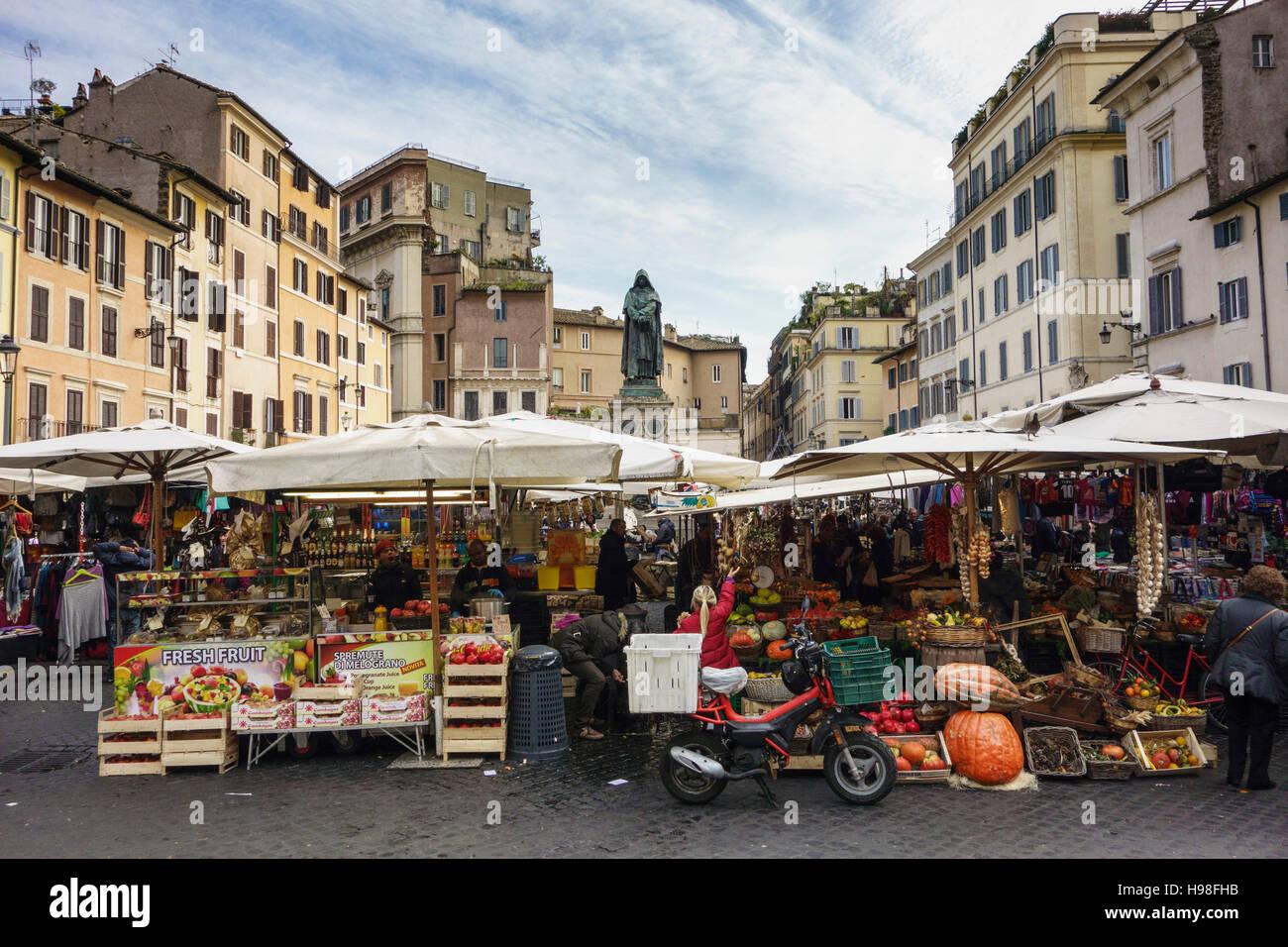 Rome. Italy. Market on Campo de' Fiori. - Stock Image