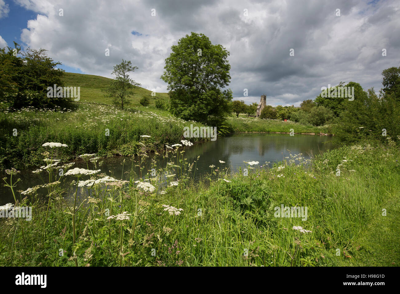 Wharram Percy deserted medieval village, Yorkshire Wolds south of Malton - Stock Image