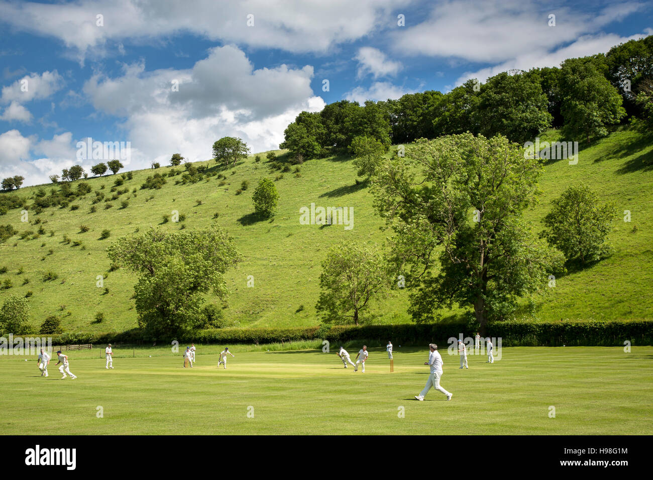 Village Cricket Match at Thixendale, Yorkshire Wolds - Stock Image