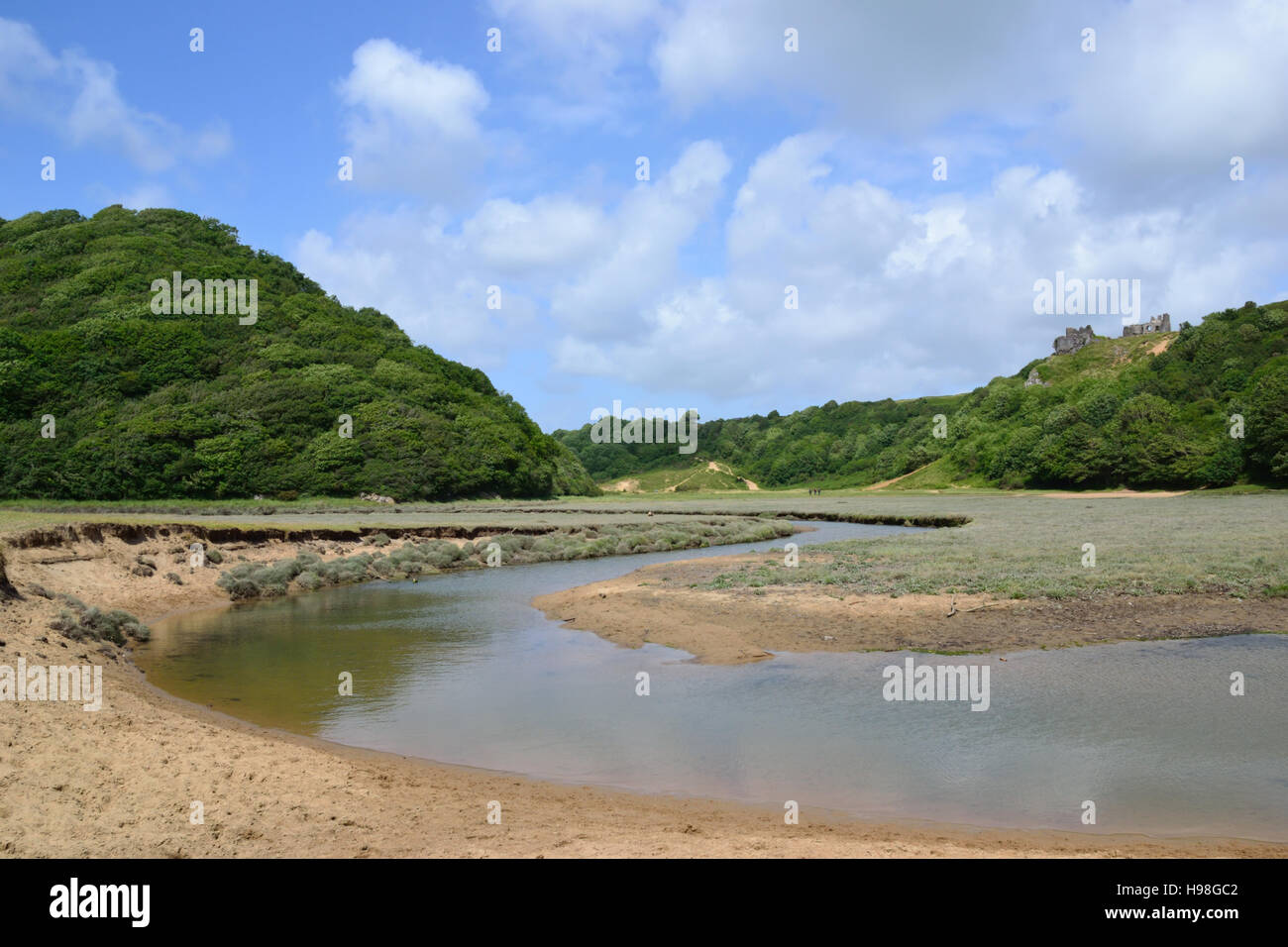 Penmaen Pill and Pennard Castle, Three Cliffs Bay on Gower Peninsula, Wales Stock Photo