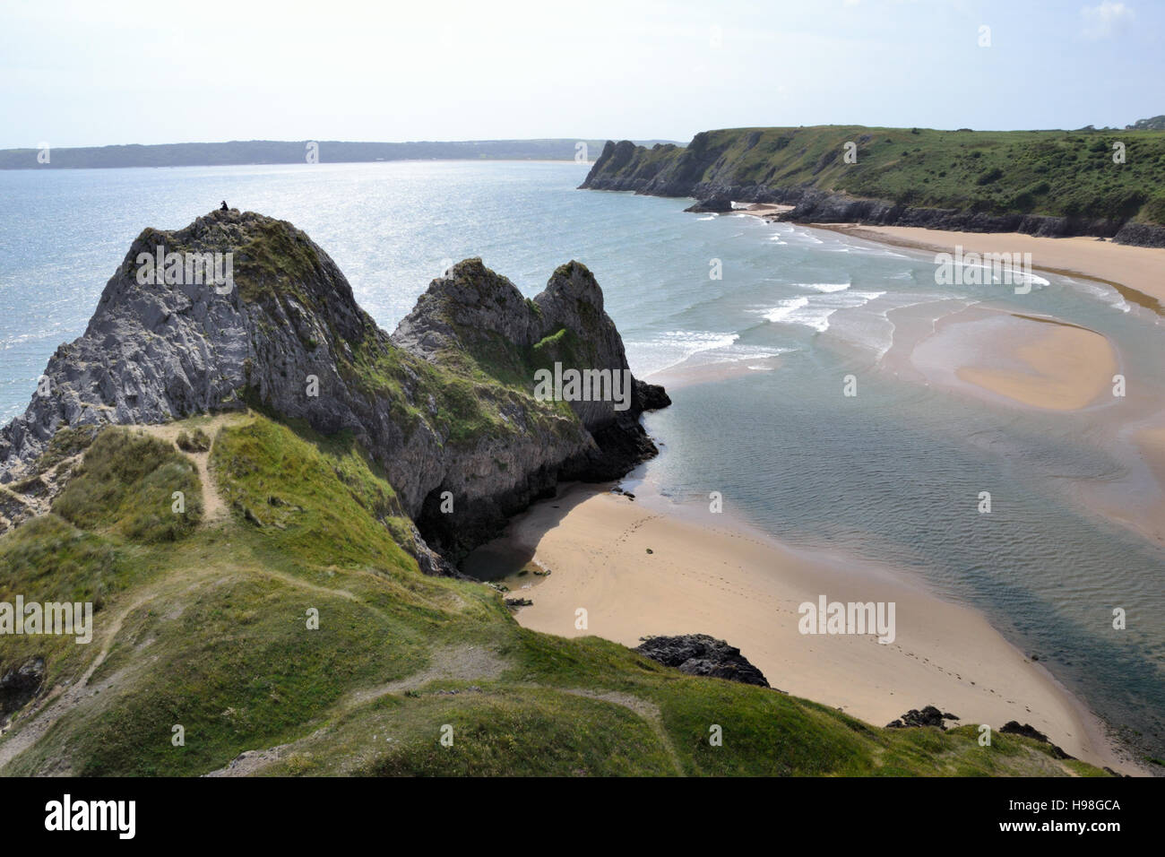 Three Cliffs Bay and beach on Gower Peninsular in Wales Stock Photo