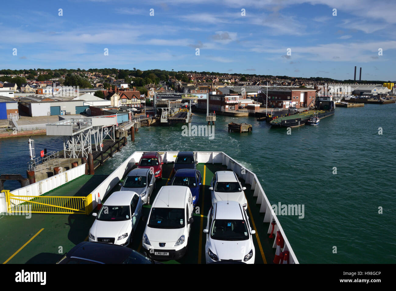 The car deck on a Red Funnel roll-on/roll-off car ferry approaching the ferry terminal at East Cowes on the Isle Stock Photo