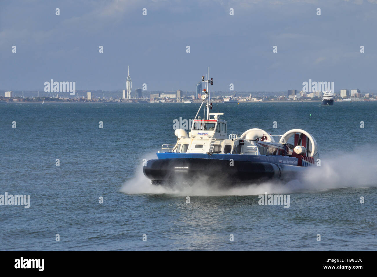 Freedom 90 hovercraft crossing the Solent from Southsea near Portsmouth to Ryde on the Isle of Wight. Operated by Stock Photo