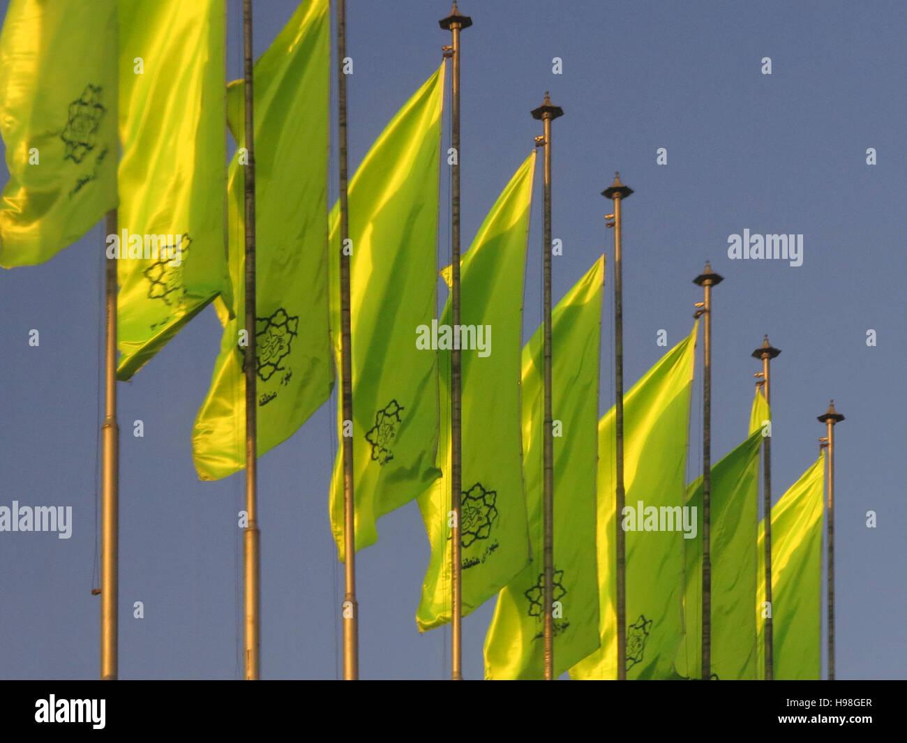 Ornamental flags in Tehran - Stock Image