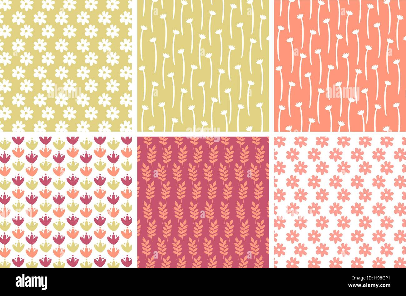 Pastel Floral Patterns Stock Vector Art Illustration Vector