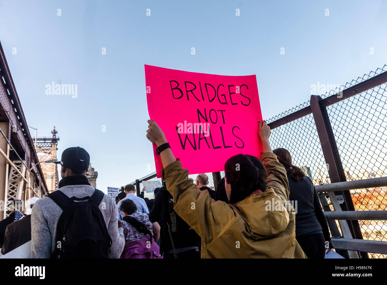 New York, USA. 19th November, 2016. Anti Trump protesters from Queens, the most diverse borough in New York City - Stock Image