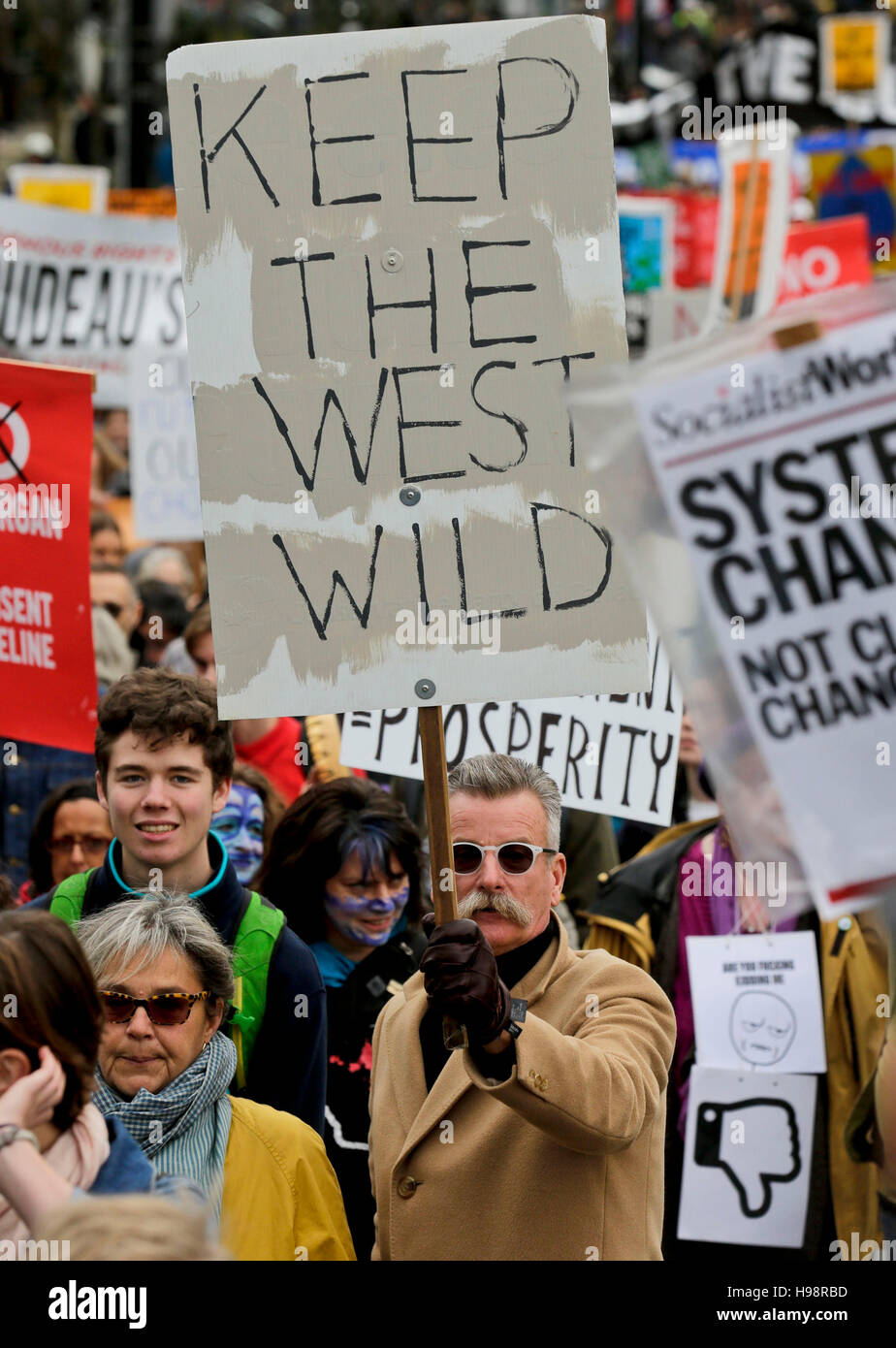 Vancouver, Canada. 19th Nov, 2016. People participate in a protest against the pipeline expansion proposal in Vancouver, - Stock Image