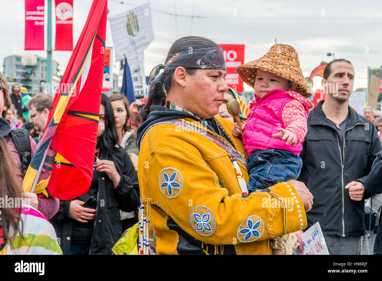 Vancouver, Canada. 19th November, 2016. Anti Kinder Morgan Pipeline Protest Rally and March, Vancouver, British - Stock Image