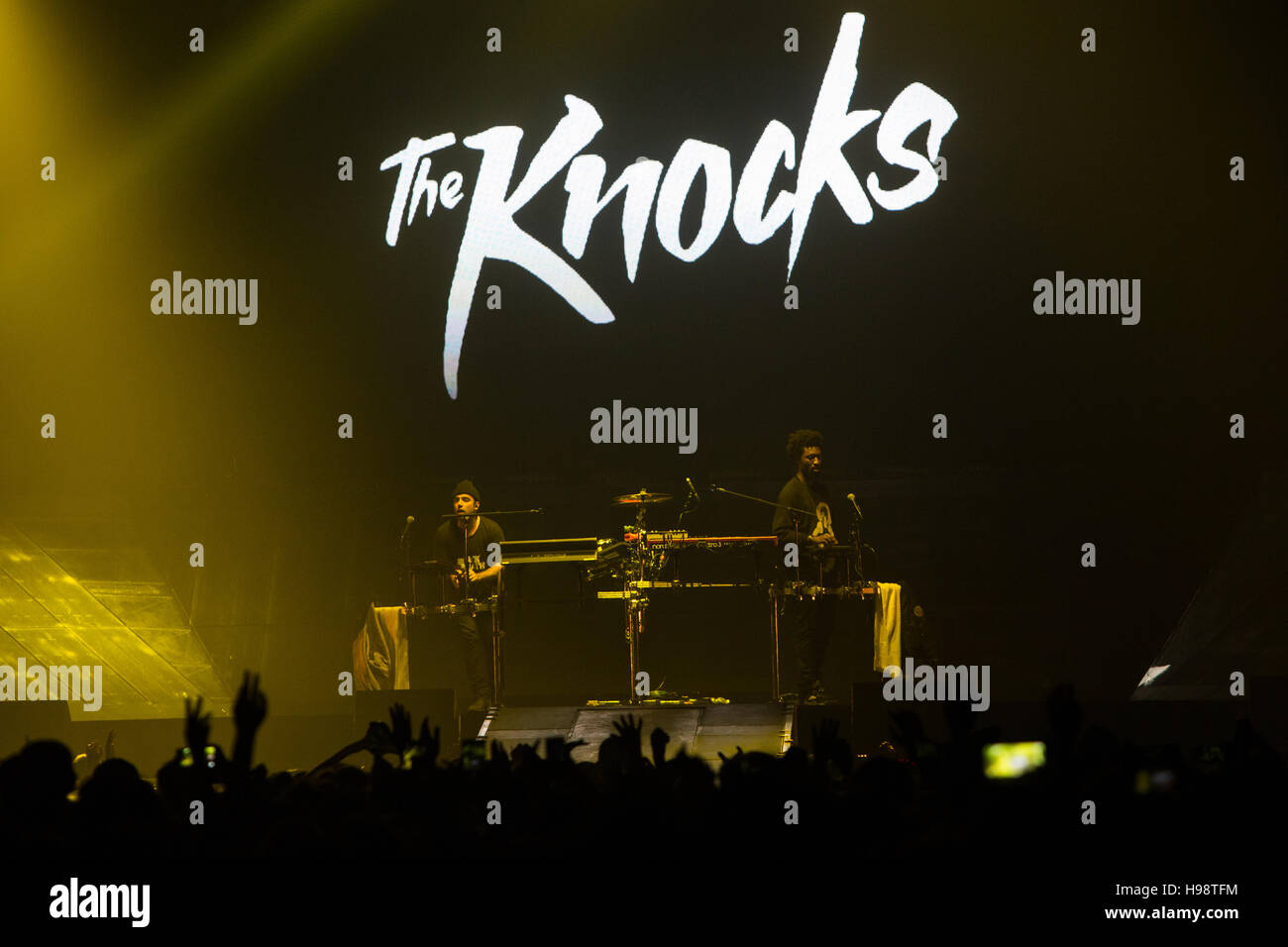 Bologna, Italy. 19th November 2016. The American electronic duo The Knocks with special guest Italian pop singer - Stock Image