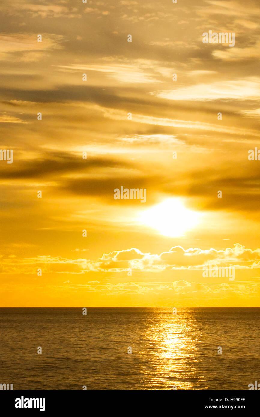 Sunset over Blackpool on the north west coast of England, UK. - Stock Image