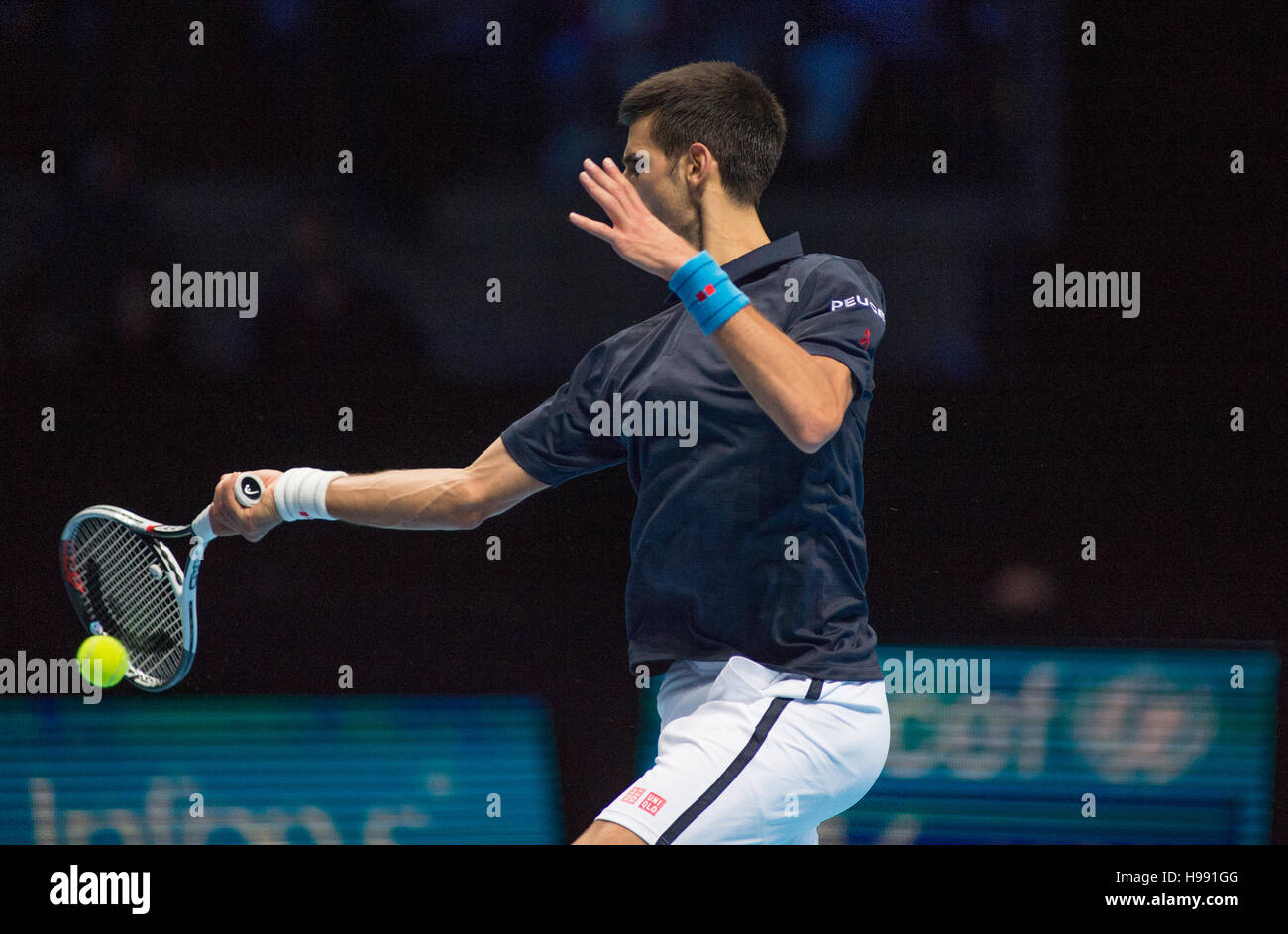 The O2, London, UK. 20th November, 2016. Day 8 singles final match, Novak Djokovic (SRB) in action against Andy - Stock Image