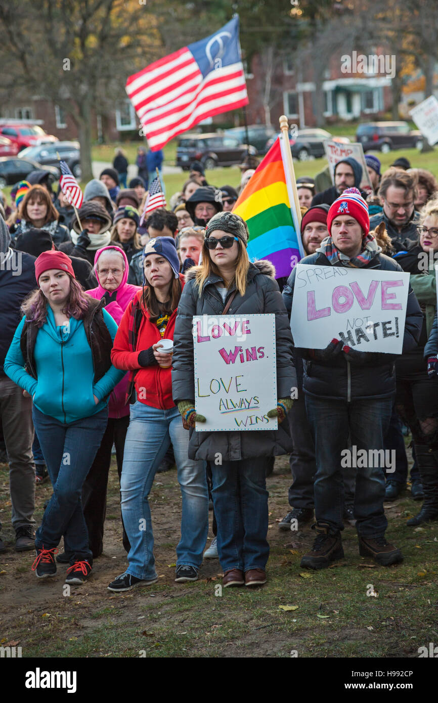 Ferndale, Michigan, USA. 20th Nov, 2016. In reaction to the election of Donald Trump, hundreds joined the Ferndale - Stock Image