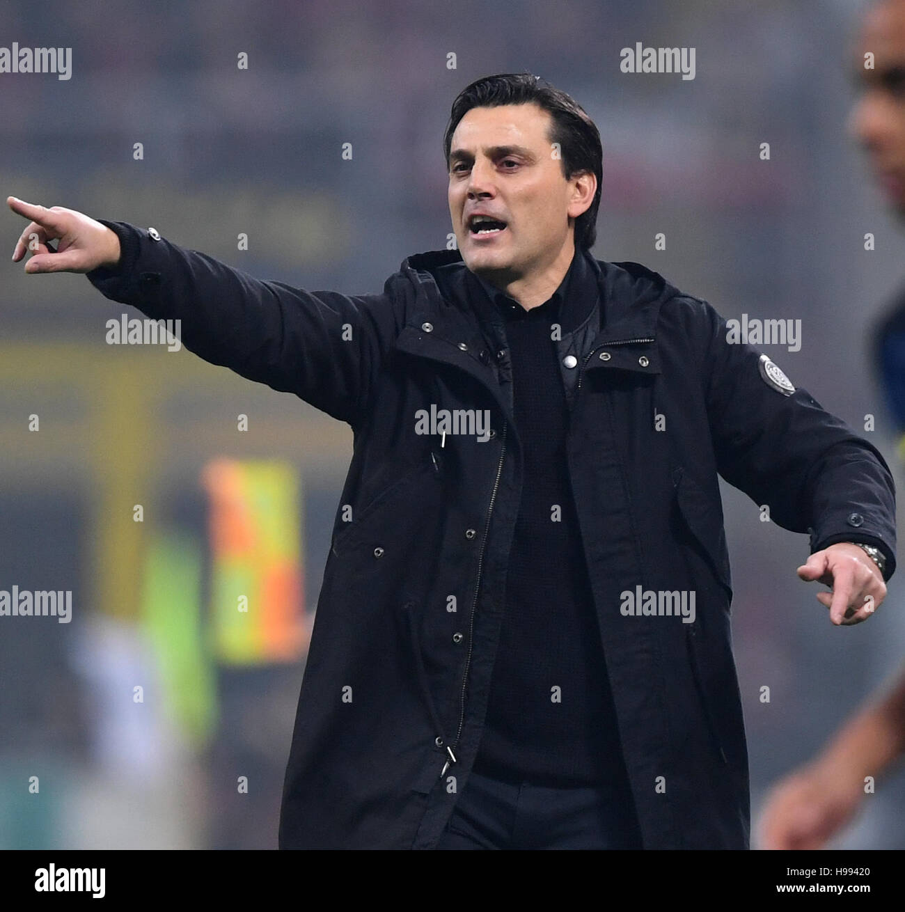 Milan. 20th Nov, 2016. AC Milan's coach Vincenzo Montella gestures during the Italian Serie A football match between Stock Photo
