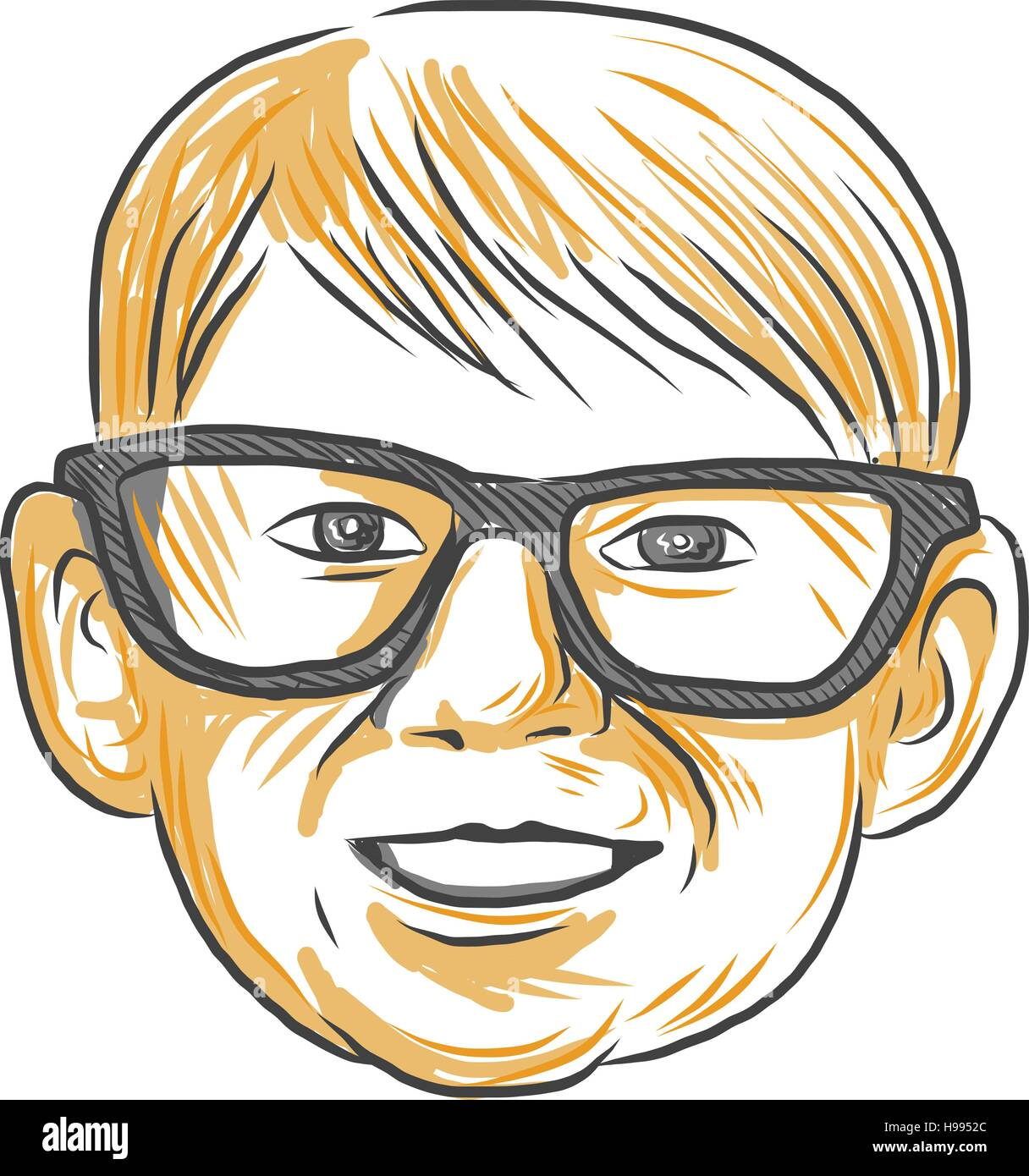 Drawing sketch style illustration of a head of a caucasian boy wearing glasses smiling viewed from front set on Stock Vector