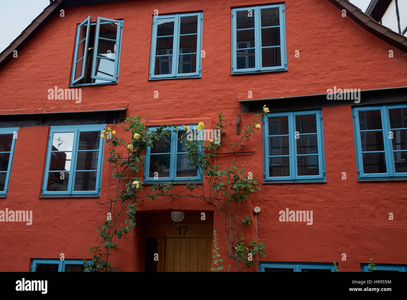 Nicely decorated house in the historical city center of the old Hansestadt Lüneburg, Germany - Stock Image