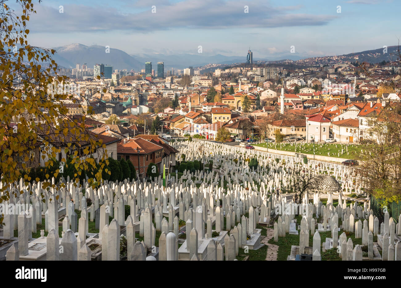 Kovaci war cemetery and Sarajevo city panorama - Stock Image