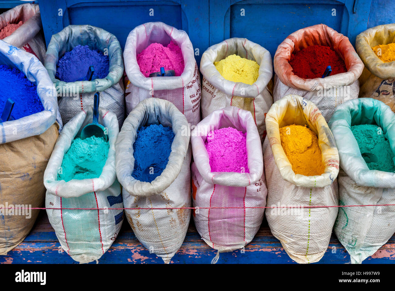 Sacks Of Colourful Clothes Dye, Chefchaouen, Morocco - Stock Image