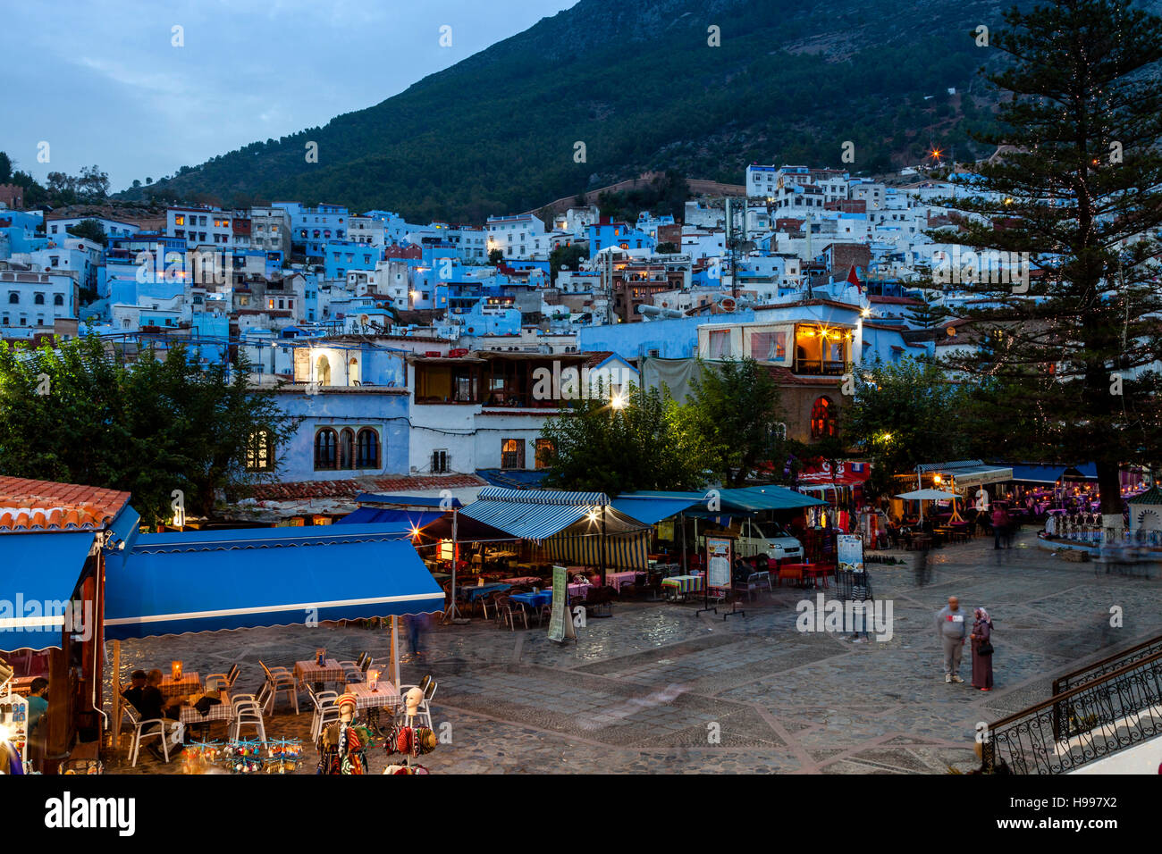 Cafes and Restaurants In Plaza Uta el-Hammam, Chefchaouen, Morocco