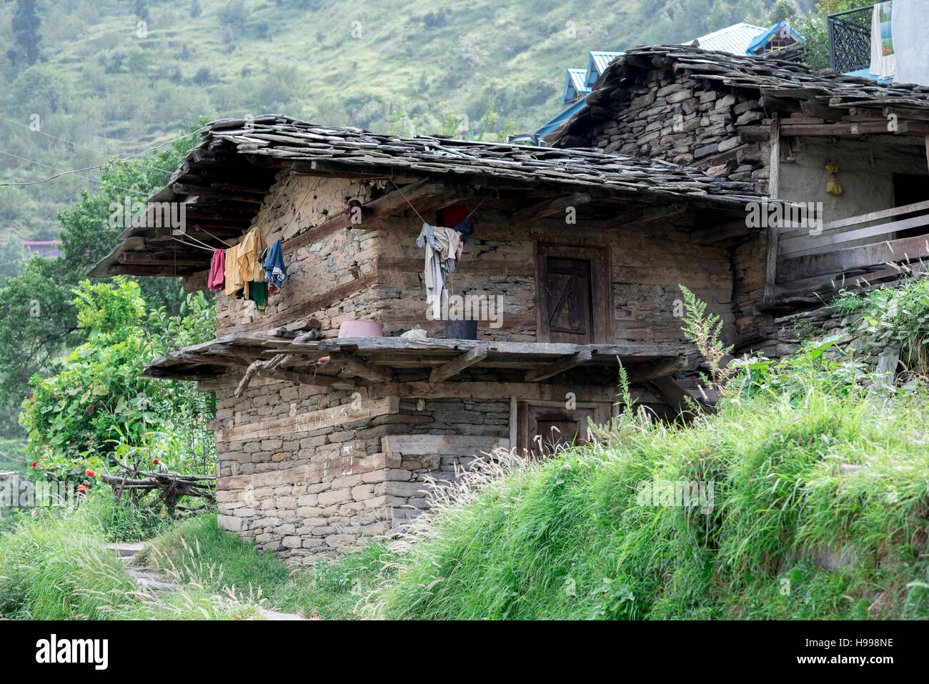 Traditional style house in Himachal. - Stock Image