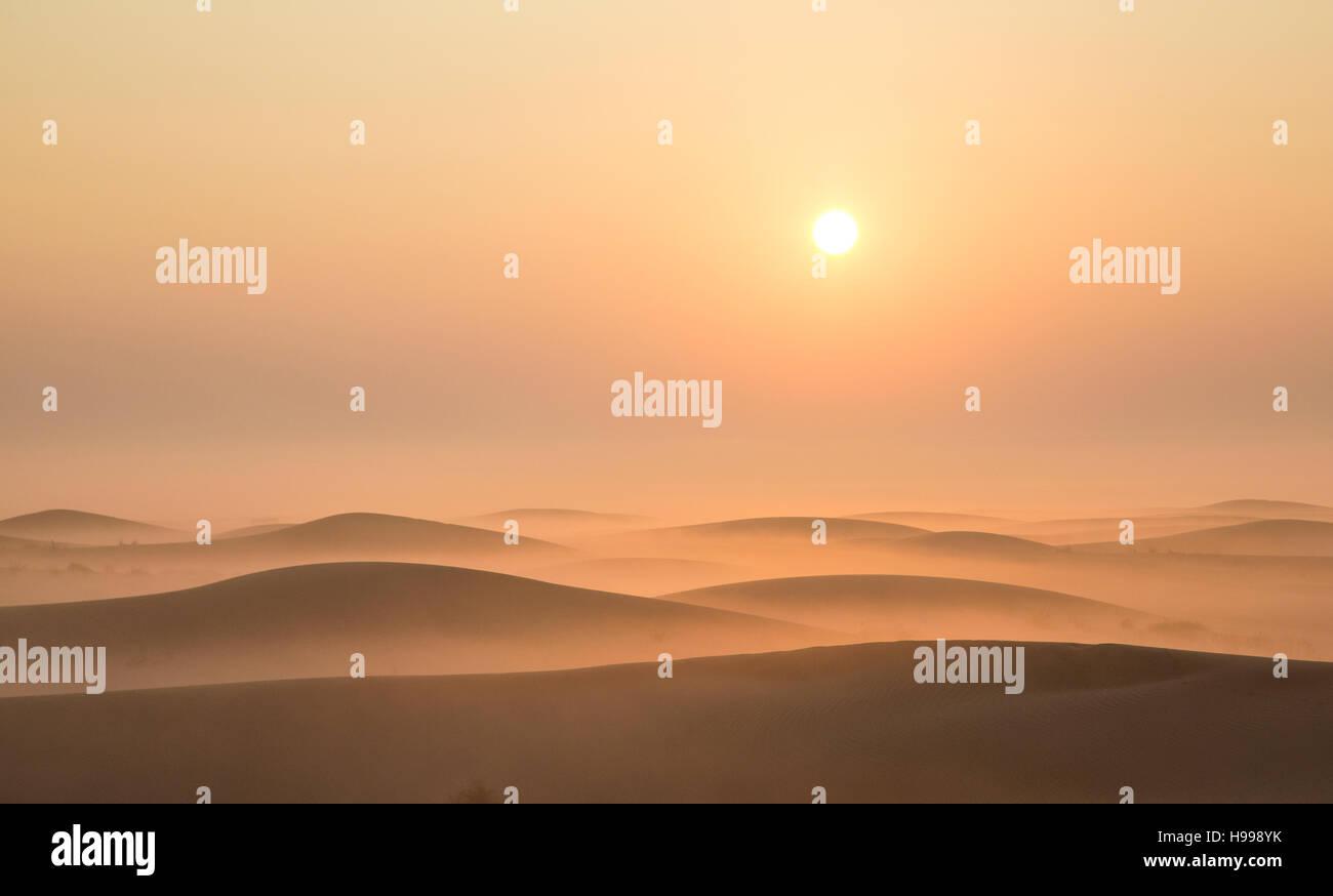 Mist in a desert at sunrise near Dubai, UAE - Stock Image
