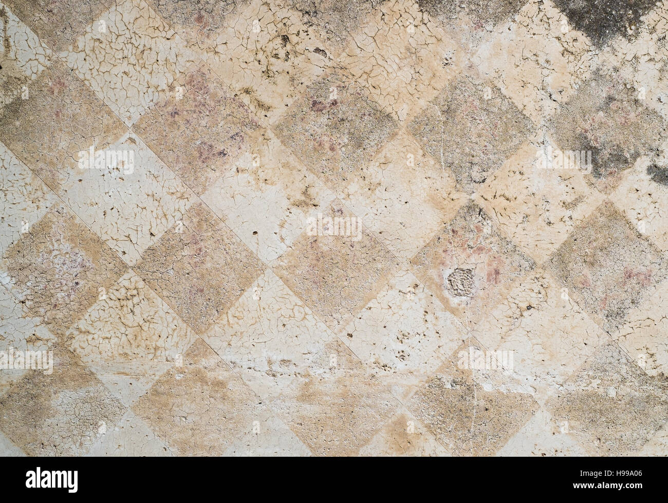 Distressed external wall diamonds decoration - Stock Image
