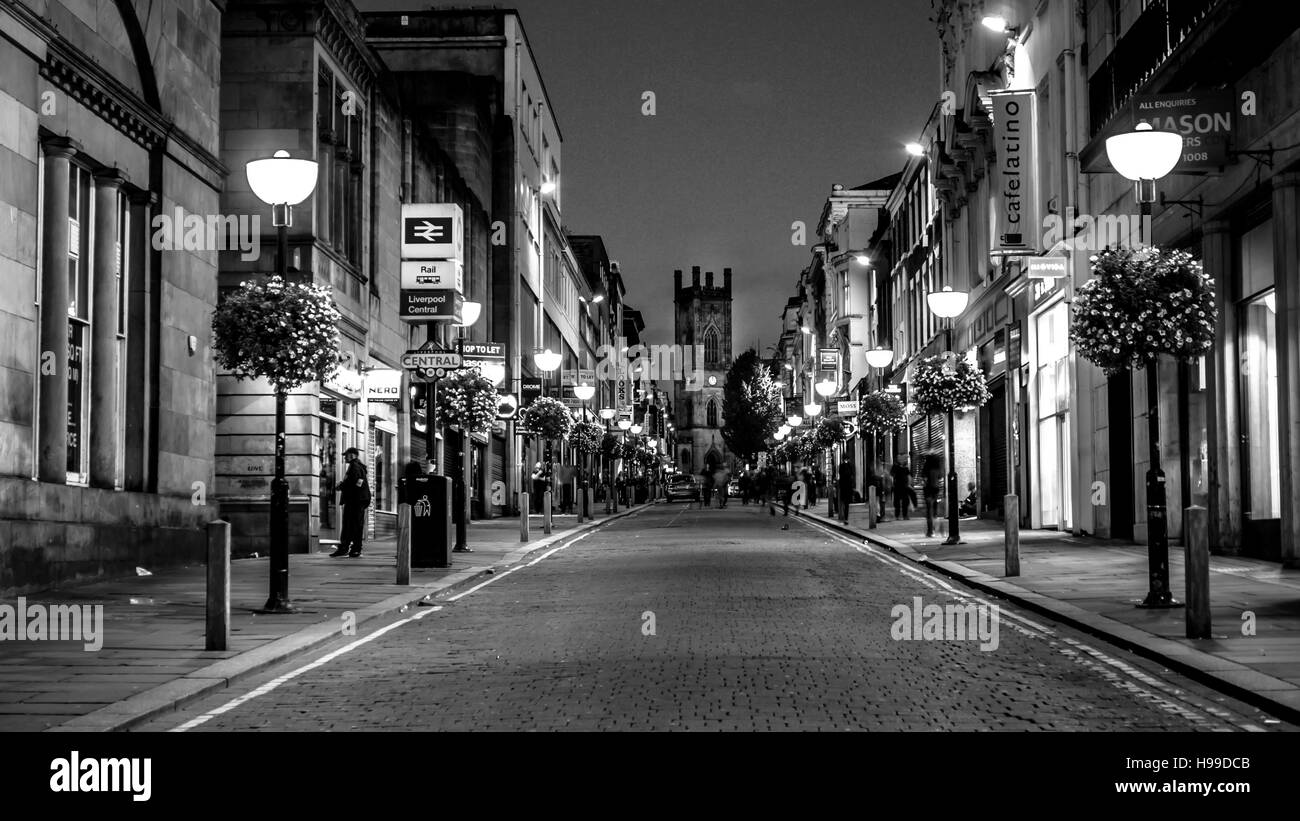 A black and white photo of Bold Street in Liverpool - Stock Image