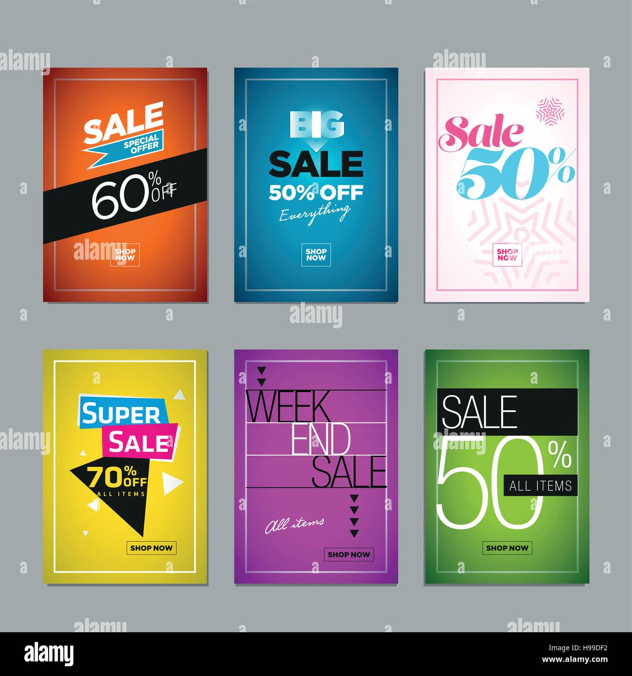 collection of sale poster or website banner design templates vector