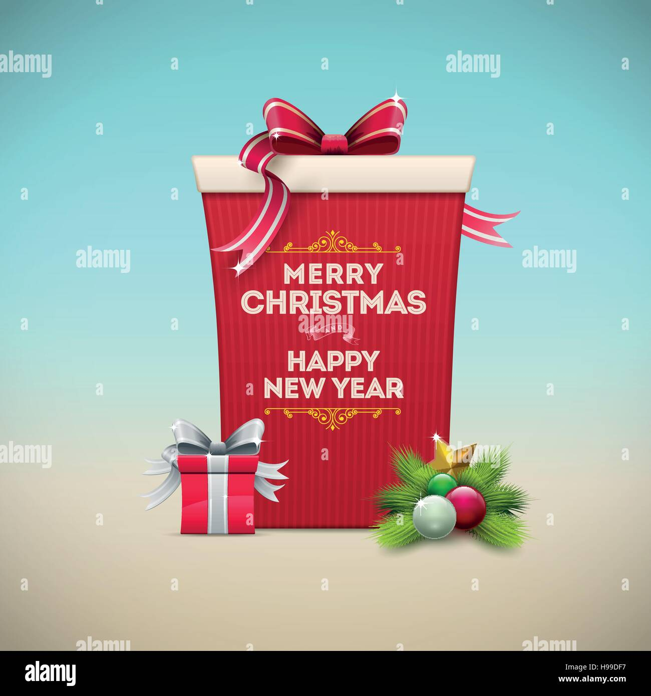 Christmas gift box message board. Merry Christmas and Happy New Year text on the box. Christmas vector illustration. - Stock Image