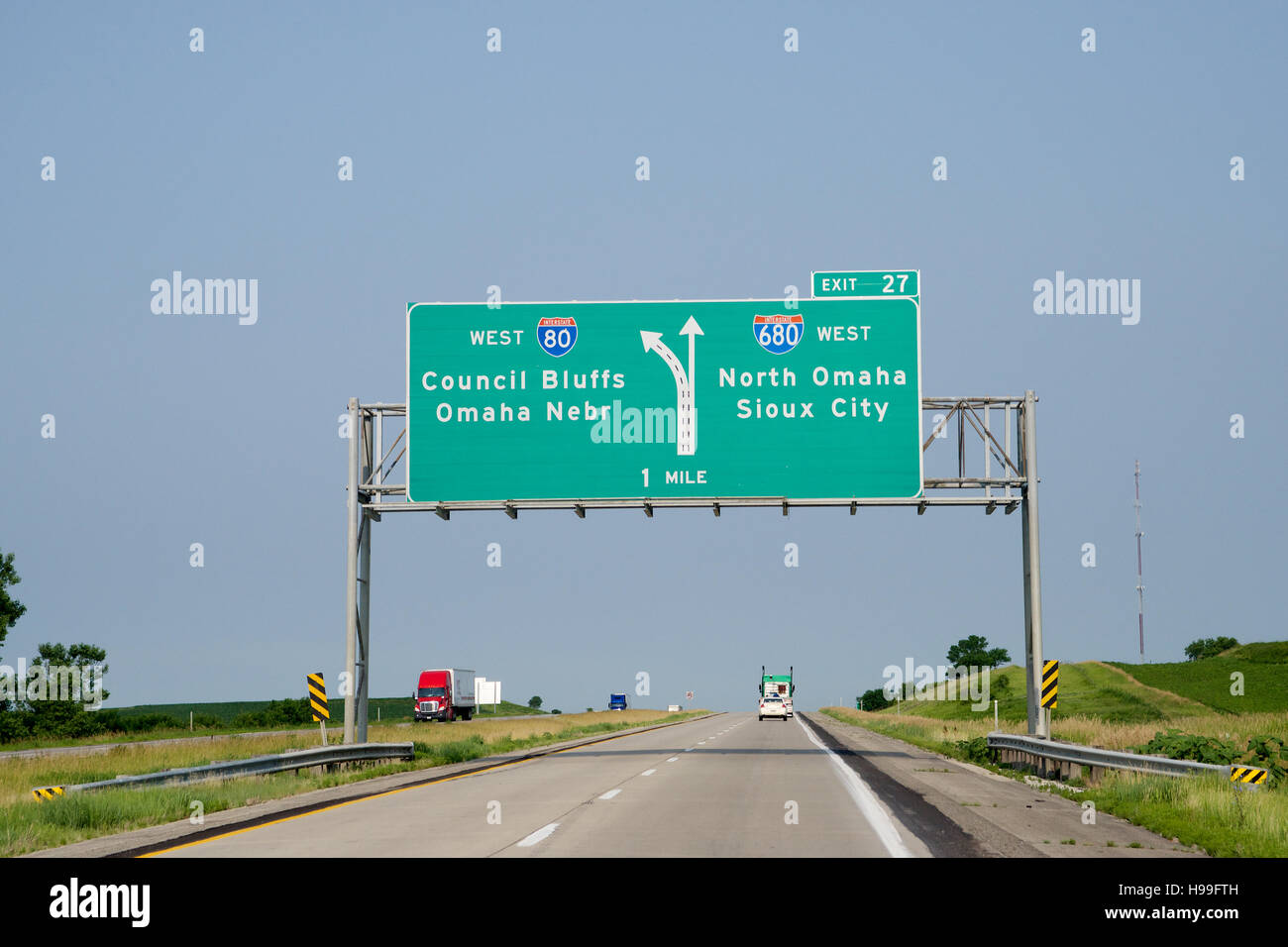 Highway Sign on Interstate 80 westbound  Iowa, USA Stock Photo