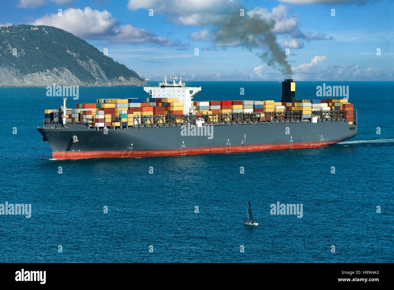 Aerial view of a Cargo ship - Stock Image