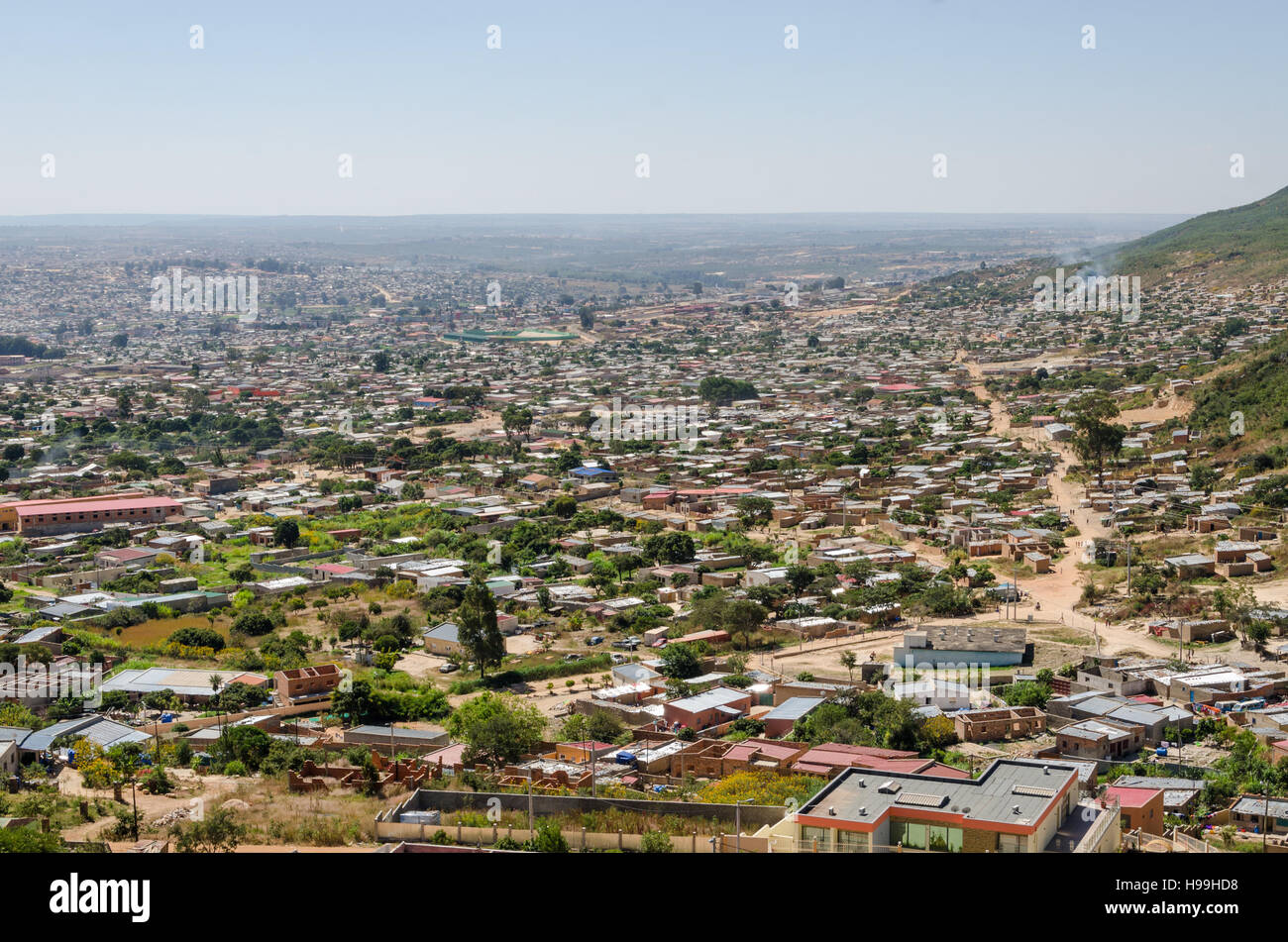 Aerial or rock view of African town Lubango in the interior of Angola. - Stock Image